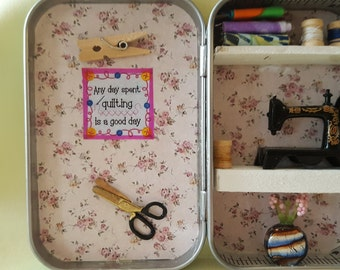 Altoids tin, miniature sewing room, collectables