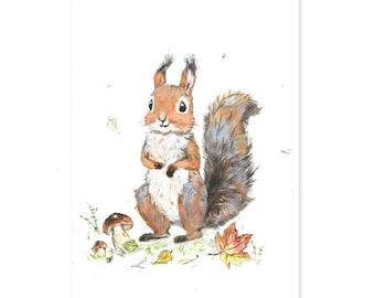 Squirrel Art Print,  Woodland Nursery Decor,  Giclee, Woodland Nursery Art,Forest Animals,Squirrel  Picture for Baby, Playroom Art
