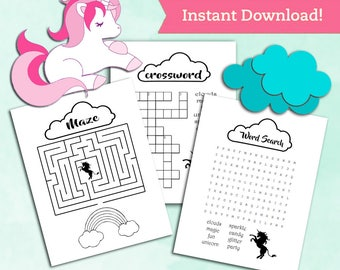 Unicorn Printable Coloring Page / Activity Sheets Pack - Party Favors Birthday Decorations - Magicial First Birthday Decoration Printables
