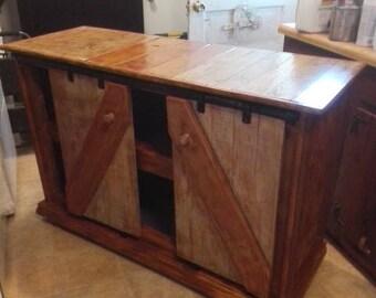 Handmade Island, Buffet, TV Stand, Sideboard cabinet, barn sliding doors, 50x20x35 , freight shipping