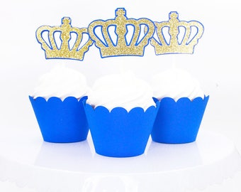 Royal Prince Birthday - Prince Cupcake Toppers - Royal Prince Baby Shower - Gold & Royal Blue Crown - Royal Prince First Birthday Decoration