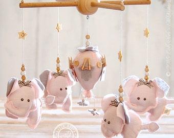 Baby Girl Mobile, Baby Girl Nursery Decor, FREE DELIVERY, Pink and Grey Nursery Decor, Elephant Nursery Mobile, Hot Air Balloon Baby Mobile