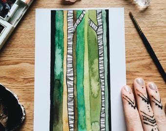Whisp - Geo Collection - Original Watercolor Painting - PRINT - 5x7