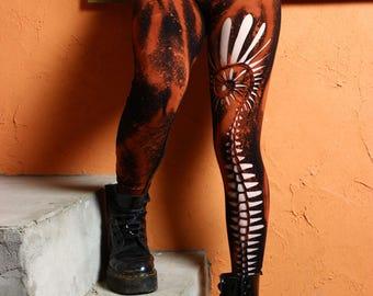 Spiral Psy Leggings - Hippie Boho Bohemian Clothing Goa Tapestry Festival Hippy Gypsy Yoga Pagan Witch Pixie Faerie - Size 6 8 10 12 14 16