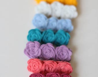 Felt Rose Clusters ~ Set of 6 ~ Pick your Color~ Tiny Roses ~ Headbands ~ Hair Clips ~