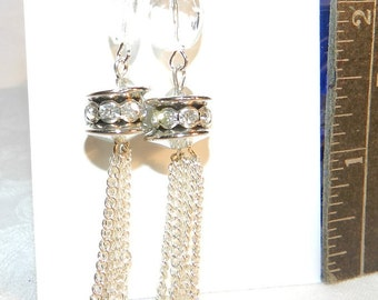 Silver, Tassels, Long Dangely Tassels, Handcrafted Silver Earrings