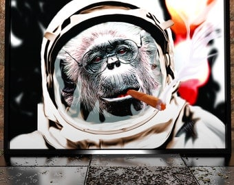Monkey In Space With Cigar Painting Poster Print - Digital Illustration - Monkey Poster - Smoking Poster - Monkey With Cigar