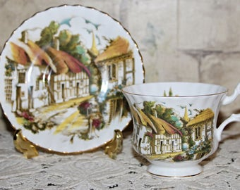 Vintage Royal Albert Teacup & Saucer with Cottages Pictorial Thatched Roof Open Pane Windows,Church Steeple and Walkway Very Scenic c1970's