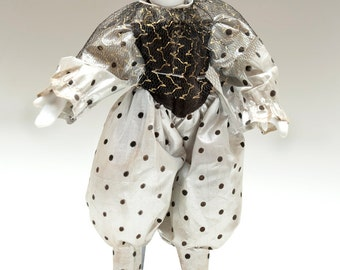 """1990s -- Denton Porcelain Harlequin Doll - Silver Lame w Black Polka Dots - Black Lace """"Collar"""" w Metallic Gold Accents - Stand Included"""