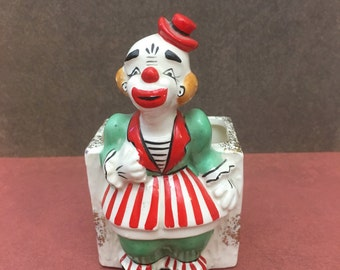 Vintage Ceramic Lady Clown Planter Green outfit Red and White Striped Skirt - Gold Speckled Accent