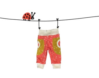 organic baby girl pants, coral baby pants, toddler organic pocket pants, kids pants organic, baby jersey knit pants, toddler pocket pants