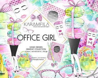 Office Clipart Cute Working Girl Boss Planner Fashion Illustrations LifeStyle Blog Watercolor Peonies Kate Spade Bag French Macaroons
