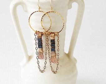 Statement Earrings for Her - Edgy Earrings - Hoop Earrings for Her - Friend Earrings Gift - Gift for Her Under 25 - Dangle Earrings for Mom