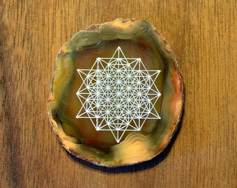 64 Sided Tetrahedron Engraved Agate - Sacred Geometry Home Decor by LaserTrees Geode Crystal Unique - LT40139