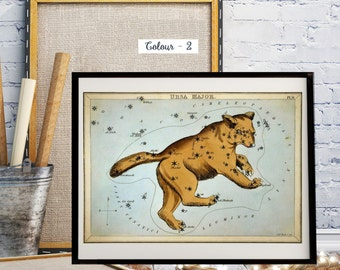 Zodiac Prints, Antique World Map, Hand-Coloured Celestial Star Charts, Sidney Hall 1825, The Constellation Ursa Major, Astrology Print