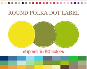 50 Colors Digital ROUND POLKADOT LABEL Clipart Polka Dot Circle Digital Frames Round Label Clipart Printable Labels Scrapbook Clip Art #C013