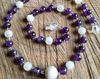 15.5in Amethyst & Moonstone Relaxation Necklace