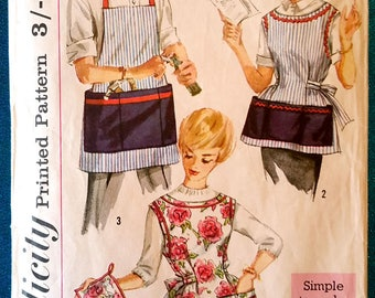 Vintage 1950's 'simple to make' apron pinny pot holder sewing pattern - Simplicity 3206 - women's Medium, men's One Size - 1959