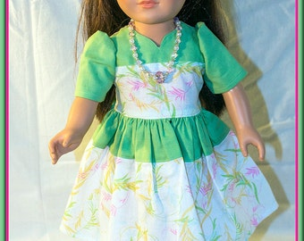 "American made Girl Doll Clothes, Green Spring Dress for American Girl, Madame Alexander, Journey Girls n other 18"" Dolls"