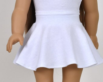 Skater Skirt White color 18 inch doll clothes