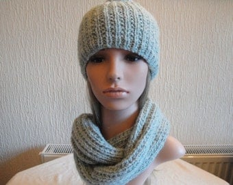 hat and snood set, duck egg blue knits, cap and circle scarf, scarf and beanie, knitted accessories, infinity scarf set, wool mix accessory