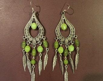 Green Chandelier Feather Earrings
