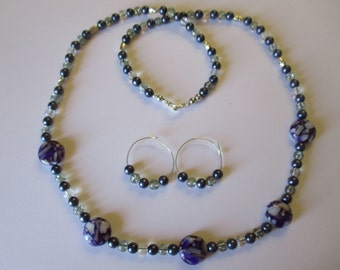 Grape beaded necklace with matching pierced earrings - # 499