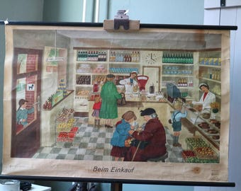 vintage school poster- Shopping in East Germany
