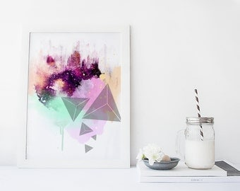 Galaxy wall art, art print, watercolor galaxy poster, abstract art, home wall decor, modern, apartment wall art, gift, poster, painting