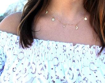 Minimalist ras gold - plated Lunar neck collar