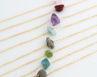 Raw Crystal Necklace/ Delicate Layering Necklace/Raw Stone Pendant/Minimal Crystal Necklace/Christmas Gift/Gift for Her/Bridesmaid Gift/N257