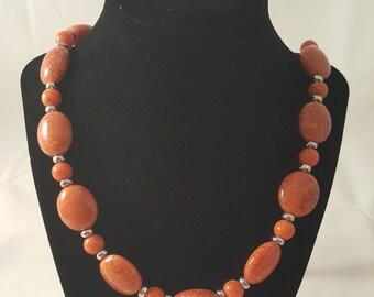 Orange Acrylic Beaded Necklace - Orange Necklace - Orange Bracelet - Acrylic Jewelry Set - Orange Jewelry Set - Orange Jewelry - Orange Set