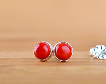 Red Coral Earrings, Natural Coral Stud Earrings, Red Gemstone Earrings, 6mm stud earrings: 14k Gold Filled, Sterling Silver Jewelry