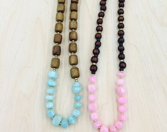 Wood necklace- pink color