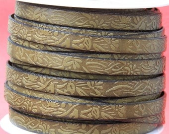 "MADE in SPAIN 24"" of floral leather cord, 10mm flat engraved leather cord for bracelet, embossed 10mm leather cord (509/10/43)"
