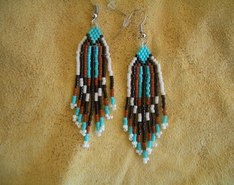 Turquoise & black beaded earrings. Native American Hand Made. Fringed. Delica Beads. Brick Stitch. Southwest design. First Nation. ndn.
