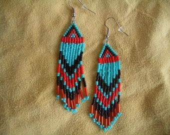 Native American Beaded Earrings, Authentic, Fringed, Delica Beads, Brick Stitch, Hand Made, Southwest, Traditional Design, First Nation, ndn