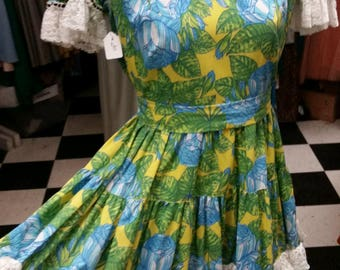 Vintage Lace Trimmed Square Dancing Dress - Neon Garden