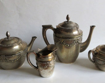 antique sterling silver coffee tea serving set of 4