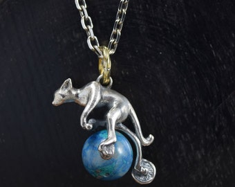 Earth Ride Cat Necklace, chrysocolla,delicate hand carving,925,Solid Sterling Silver,