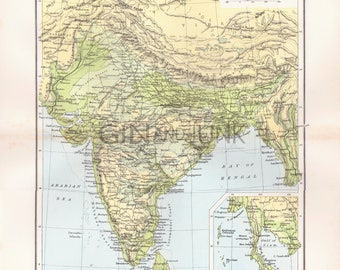 Antique India Map, Map of India, Physical Map of India, World Map, Indian Map from 1904, Vintage Map.