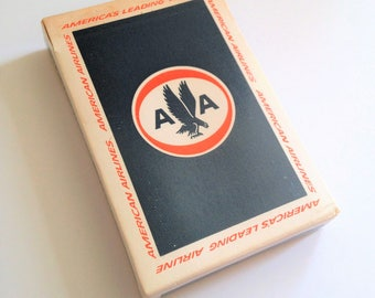 Vintage American Airlines Playing Cards, In Flight Playing Cards, Full Deck, Airline Collectible, Red White Blue Eagle