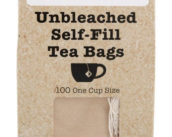 100 UNBLEACHED Self Fill Empty Teabags, One Cup Size, drawstring FREE Post UK & Europe, Ideal For All Loose Leaf, Fruit, Herbal, Green Teas