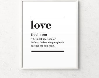 Love definition, definition print, definition poster, definition of love, love quote, love wall art, love wall art, love gift, gift for her
