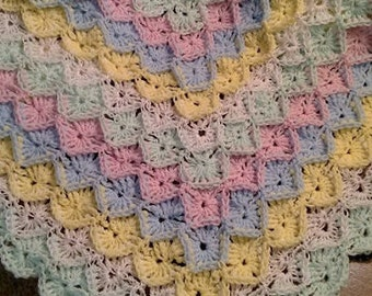 Rainbow Sherbet newborn/preemie crochet afghan