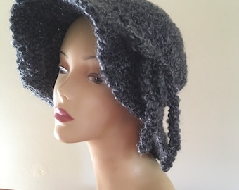 Gray Brimmed Cloche Hat with Bow Tie