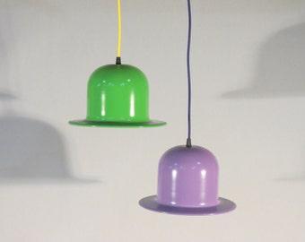 Handmade pendant lamp, bowler hat lamp, hanging lamp, bell pendant lamp, different colors, ceiling lamp, metal lamp, lighting, textile cable
