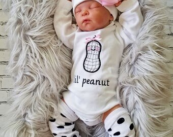 Baby Girl Coming Home Outfit Personalized Baby Girl Little Peanut Baby Girl Gift Personalized Baby Girl Outfit Embroidered Baby Girl