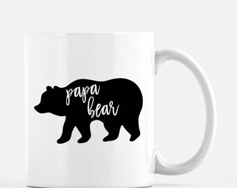 Papa Bear Mug | Poppa Bear Coffee Mug | Gift for Dad | 11 oz, 15 oz, or 12 oz Latte | Double Sided