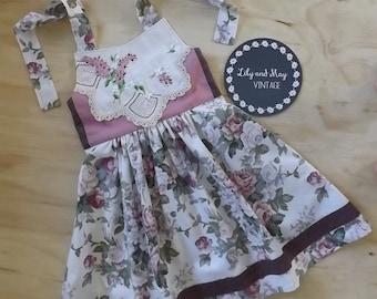 Upcycled girl's 'Ginger' floral doiley halter dress/retro dress - size 7-8